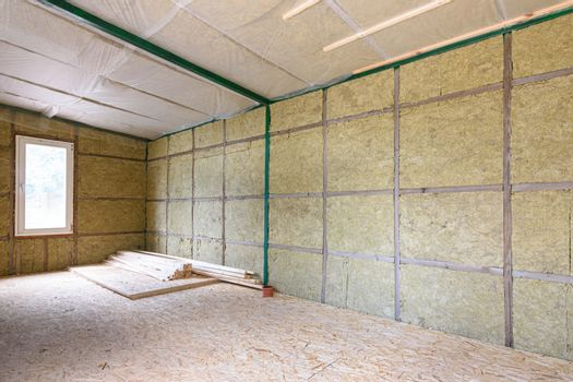 Wall insulation with mineral slabs in a frame house