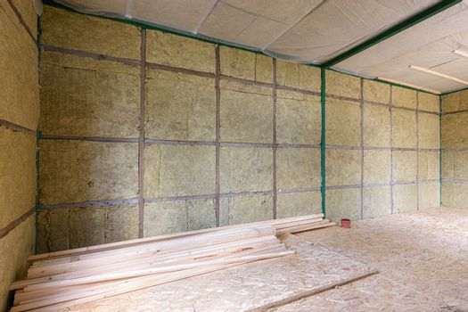 Wall of a country house with mineral thermal insulation from the inside