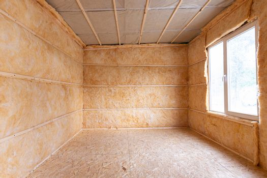 Roll insulation on the inner walls of a small room