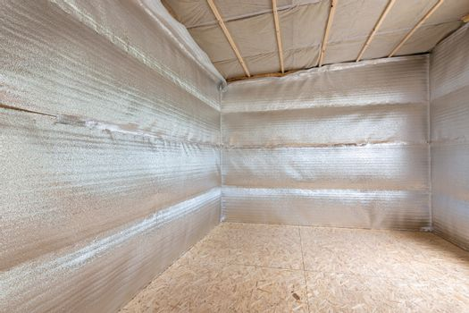 Wall insulation with reflective foamed polyethylene laminated with lavsan