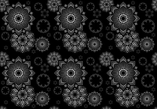 Abstract Seamless Floral Mandala Pattern on Black Background - Repetitive Texture, Vector Illustration