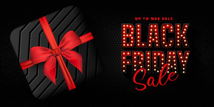 Black Friday Sale banner, poster, flyer design with gift box on black canvas texture background. Modern design template for advertisement, social and fashion ads