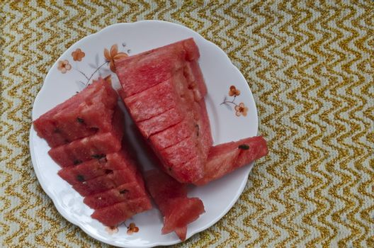 Slices of juicy watermelon arranged on a plate, Sofia, Bulgaria