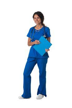 Female nurse in blue uniform with stethoscope and document folder isolated on white background, full length portrait