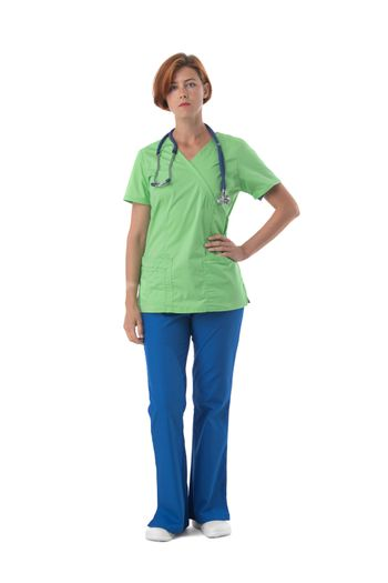 Female nurse in blue and green uniform with stethoscope and document folder isolated on white background, full length portrait