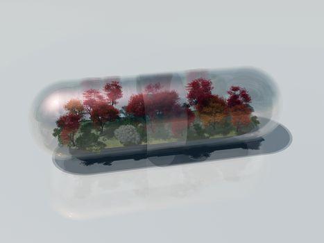 Natural Cure Or Ecological Medicine. 3D rendering