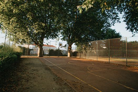 The colorful court of basketball in the street with two trees