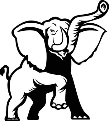 Stencil illustration of an African Elephant, Loxodonta, African bush elephant or African forest elephant prancing viewed from front on isolated background done in black and white retro style.