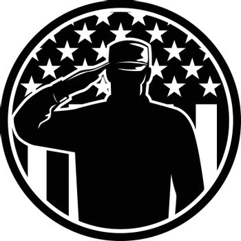 Retro style illustration of an American veteran soldier or military serviceman personnel saluting the USA stars and stripes flag set inside circle on isolated background done in black and white.