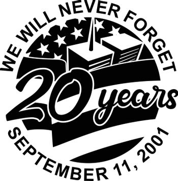 Retro style illustration of 9-11 Patriot Day memorial showing WTC building and American USA flag with words We will never forget September 11, 2001 20 years on isolated background in black and white.