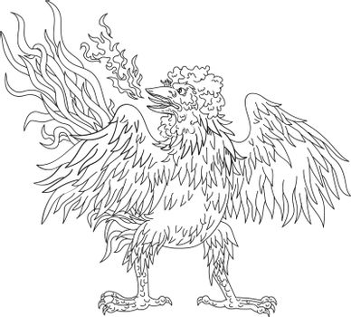 Ukiyo-e or ukiyo style illustration of a basan, basabasa or inuhoo, a fowl-like bird from Japanese mythology and folklore like a rooster wings spread standing viewed from front on isolated background.