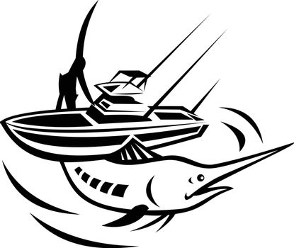 Illustration of an Atlantic  blue marlin jumping with charter fishing boat on its back on isolated white background done in retro black and white style.
