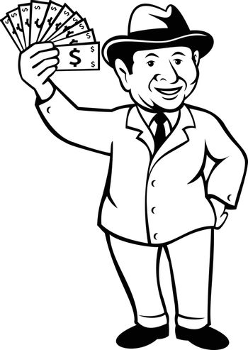 Cartoon style illustration of a vintage businessman with a wad of dollar bill, notes or money, wearing fedora hat smiling standing viewed from front on isolated background done in black and white.