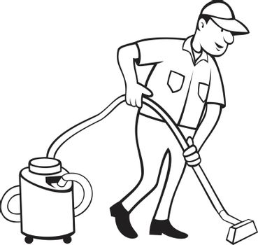 Cartoon style illustration of an industrial carpet cleaner worker vacuuming the floor with vacuum cleaner viewed from side on isolated background done in black and white.