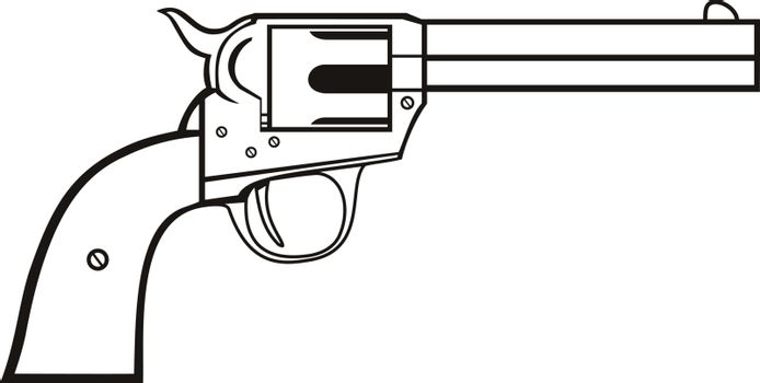 Stencil illustration of colt single action revolver or a wheel gun, a repeating handgun with a revolving cylinder containing multiple chambers and one barrel for firing in black and white retro style.