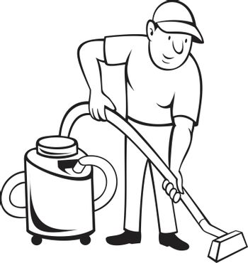 Cartoon style illustration of a commercial carpet cleaner worker vacuuming the floor with vacuum cleaner viewed from front on isolated background done in black and white.