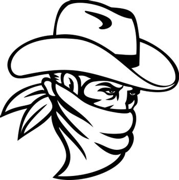 Cowboy Bandit or Outlaw Wearing Face Mask Side View Mascot Black and White