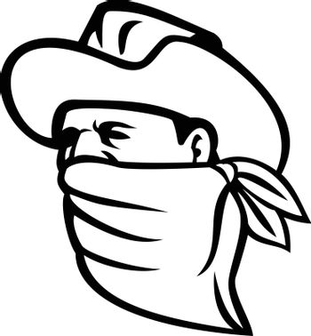 Mascot illustration of a cowboy bandit, outlaw, highwayman, maverick or robber wearing a face mask, face covering or bandana looking to side on isolated background in retro black and white style.