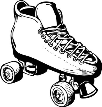 Stencil illustration of vintage woman or ladies roller derby skates on isolated background done in black and white retro style.