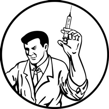 Retro style illustration of a medical doctor, nurse, medical worker or scientist wearing lab coat holding up a syringe with vaccine on set inside circle isolated background done in black and white.