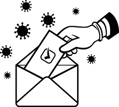 Retro style illustration of an American voter with glove hand voting during pandemic covid-19 coronavirus lockdown putting ballot or vote inside postal ballot envelope in black and white.