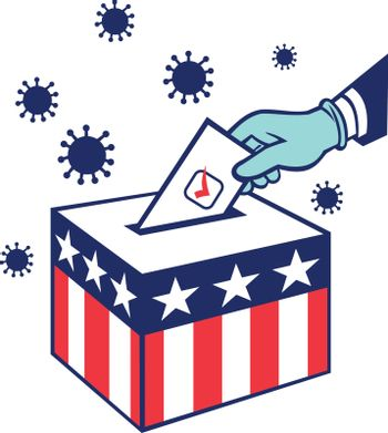 Retro style illustration of an American voter with glove hand voting during pandemic covid-19 coronavirus lockdown putting vote into ballot box with USA stars and stripes flag on isolated background.