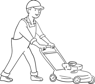 Cartoon style illustration of a gardener mowing lawn with lawnmower or lawn mower viewed from side on isolated background.