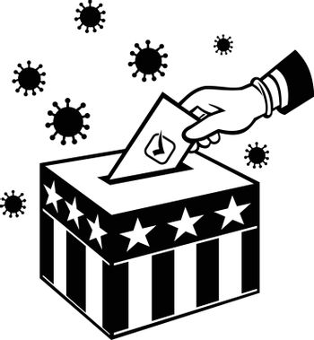 Retro style illustration of an American voter with glove hand voting during pandemic covid-19 coronavirus lockdown putting vote into ballot box with USA stars and stripes flag in black and white.
