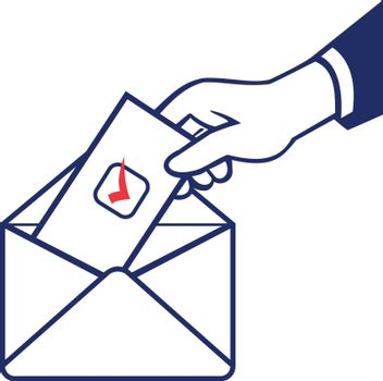 Retro style illustration of a hand of a voter putting ballot or vote inside postal ballot envelope in on isolated background.