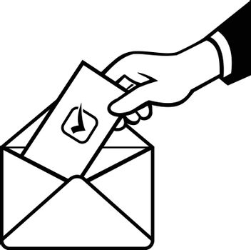 Retro black and white style illustration of a hand of a voter putting ballot or vote inside postal ballot envelope in on isolated background.