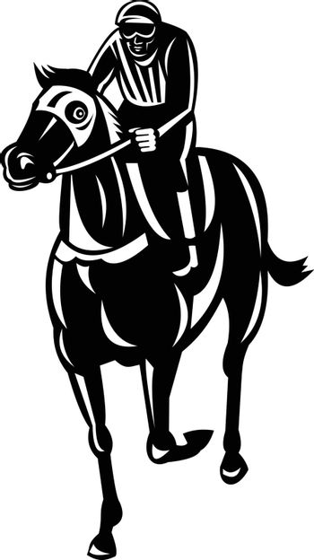 Retro style illustration of a jockey racing thoroughbred horse or galloper, a popular gaming and spectator sport viewed from front  on isolated background done in black and white.