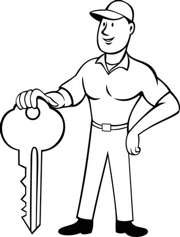 Cartoon style illustration of a locksmith or keymaker standing and holding a key viewed from front on isolated background done in black and white.