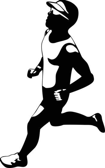 Illustration of triathlete marathon runner running facing side view with buildings in background set inside circle on isolated done in retro style.