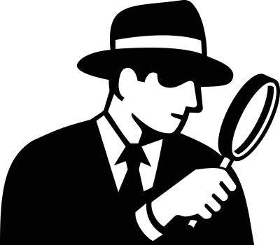 Stencil illustration of a private eye, detective, inspector or private investigator looking through magnifying glass wearing fedora hat side view on isolated background in black and white retro style.