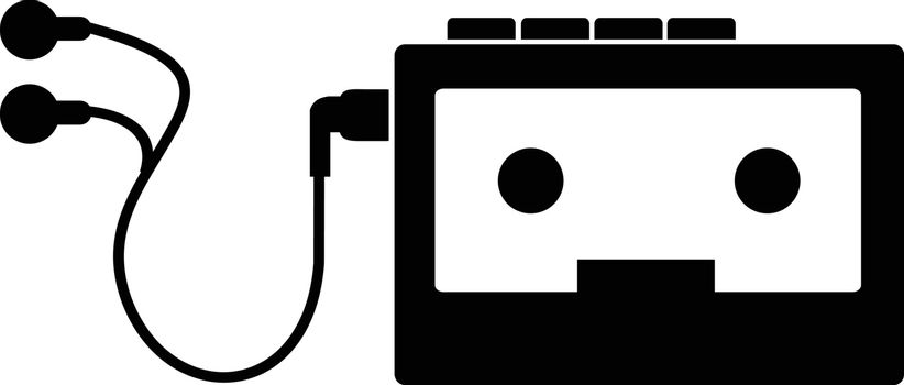 Stencil illustration of vintage portable cassette player on isolated background done in black and white retro style.