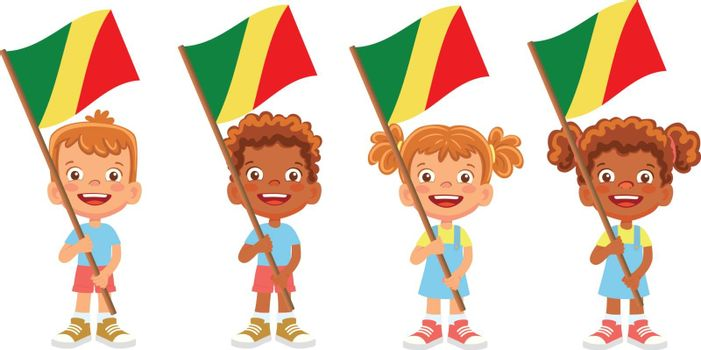 Congo flag in hand. Children holding flag. National flag of Congo vector