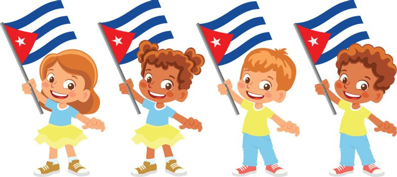 Cuba flag in hand. Children holding flag. National flag of Cuba vector