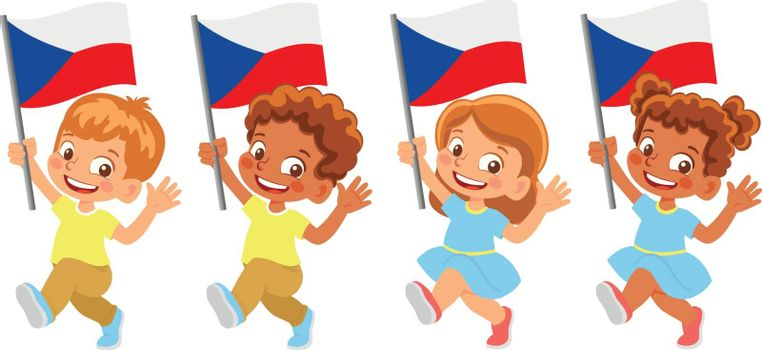 Czech Republic flag in hand. Children holding flag. National flag of Czech Republic vector
