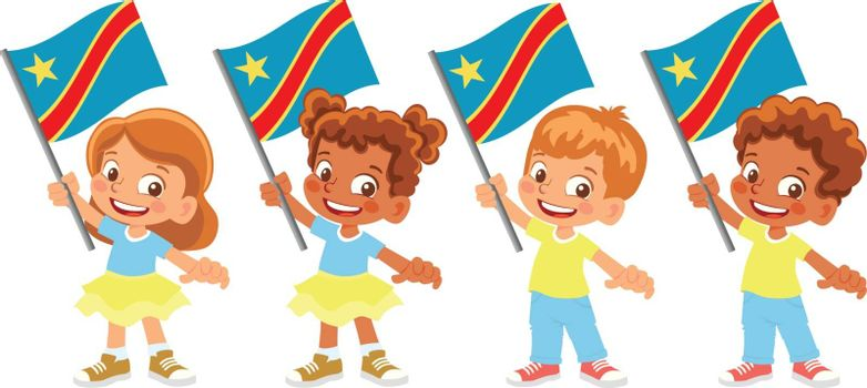 Democratic Republic of the Congo flag in hand. Children holding flag. National flag of Democratic Republic of the Congo vector
