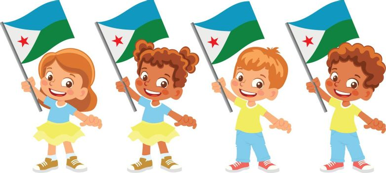 Djibouti flag in hand. Children holding flag. National flag of Djibouti vector