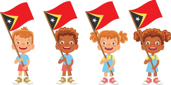 East Timor flag in hand. Children holding flag. National flag of East Timor vector