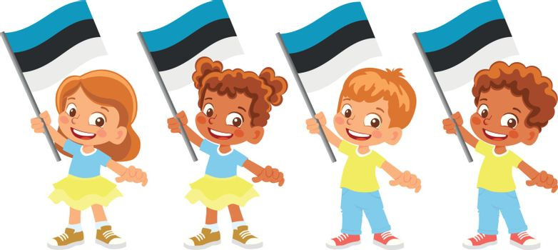 Estonia flag in hand. Children holding flag. National flag of Estonia vector