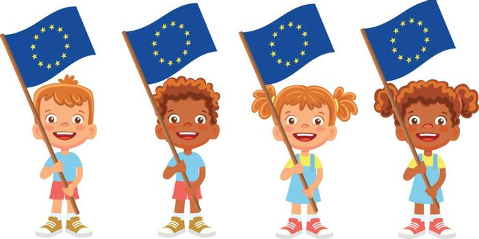 EU flag in hand. Children holding flag. Europe flag vector