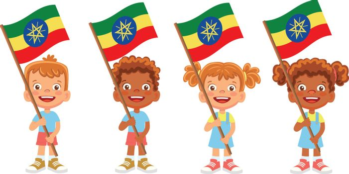 Ethiopia flag in hand. Children holding flag. National flag of Ethiopia vector