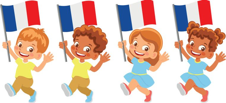 France flag in hand. Children holding flag. National flag of France vector