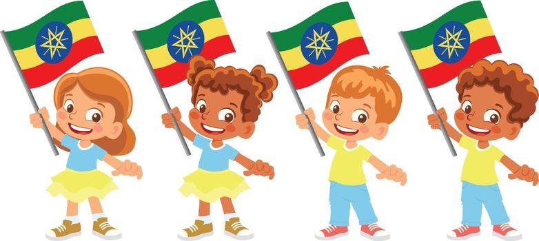 Ethiopia flag in hand. Children holding flag. National flag of Ethiopia vector