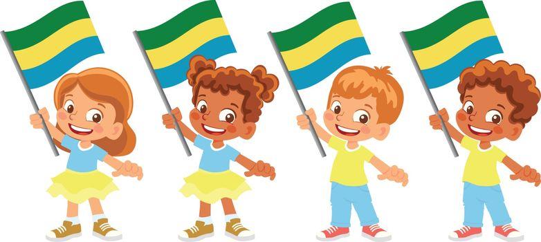 Gabon flag in hand. Children holding flag. National flag of Gabon vector