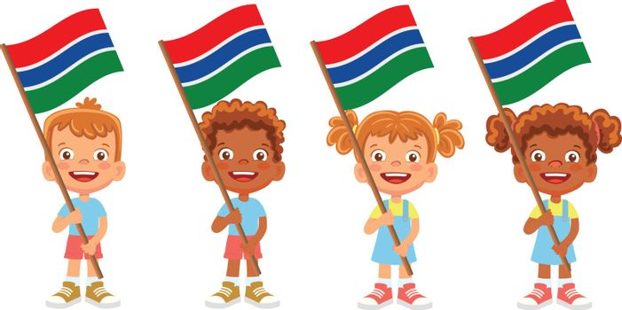 Gambia flag in hand. Children holding flag. National flag of Gambia vector