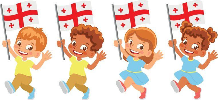 Georgia flag in hand. Children holding flag. National flag of Georgia vector