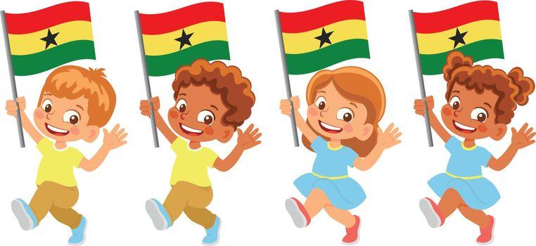 Ghana flag in hand. Children holding flag. National flag of Ghana vector